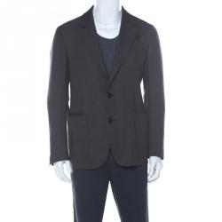 Berluti Brown Regular Fit Wool and Silk Blend Blazer L