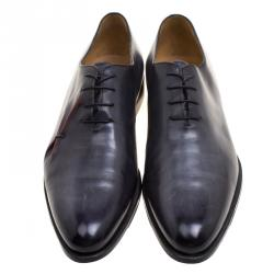 Berluti Grey Leather Lace Up Oxfords Size 44