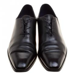 Berluti Black Leather Alessandro Lace Up Oxfords Size 41.5
