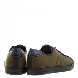 Berluti Khaki Canvas and Alligator Leather Trim Playfield Palermo Sneakers Size 42.5