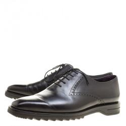 Berluti Black Leather Lace Up Oxfords Size 42.5