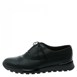 Berluti Black Brogue Leather Fast Track Sneakers Size 41