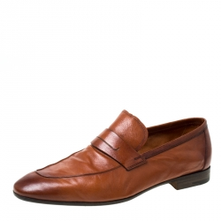 Berluti Brown Leather Lorenzo Loafers Size 42