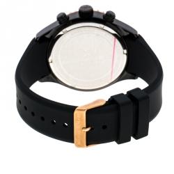 Bernhard H. Mayer Black & Rose Gold Plated Stainless Steel Hugo Chronograph Men's Wristwatch 48 mm
