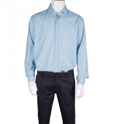 Boss By Hugo Boss Blue Patterned Cotton Jacquard Long Sleeve Slim Fit Shirt XXL