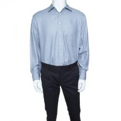 75f317bd6 Boss By Hugo Boss Blue Herringbone Pattern Long Sleeve Cotton Shirt L