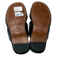 Bottega Veneta Black Intrecciato Leather Cross Strap Flat Slides Size 40