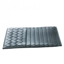 Bottega Veneta Grey Intrecciato Leather Card Holder 8CC