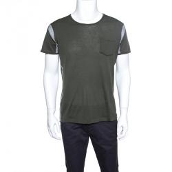 337cf43ff81e1 Bottega Veneta Green Jersey Contrast Perforated Knit Trim T-Shirt M
