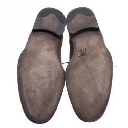 Bottega Veneta Brown Vintage Finish Brogue Leather Oxfords Size 43