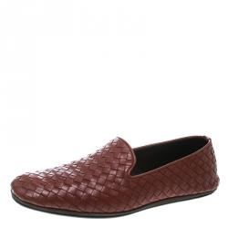 d2b68df0483a Bottega Veneta Brown Intrecciato Leather Smoking Slippers Size 40