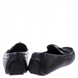 Bottega Veneta Black Leather Wave Driver Intrecciato Detail Moccasins Size 43