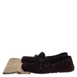 Bottega Veneta Burgundy Intrecciato Suede Leather Loafers Size 43