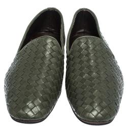 Bottega Veneta Green Intrecciato Leather Smoking Slippers Size 40.5
