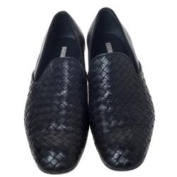 Bottega Veneta Black Intrecciato Leather Loafers Size 42