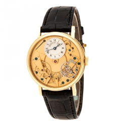 Breguet Silver 18K Yellow Gold Leather Tradition 7027 Men's Wristwatch 38 mm