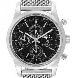 Breitling Black Stainless Steel Transocean Perpetual Moonphase A19310 Men's Wristwatch 43MM