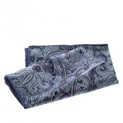 Brioni Navy Blue Paisley Printed Silk Pocket Square