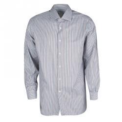e8df4d4abcd29 قميص بريوني أزرار أمامية أكمام طويلة قطن مخطط متعدد الألوان XXL