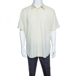 f781ab07ba226e Brioni Pale Yellow Checkered Cotton Short Sleeve Button Front Shirt XXL