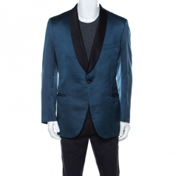 Brioni Blue Silk Jacquard Slim Fit Double Breasted Tuxedo Blazer XL