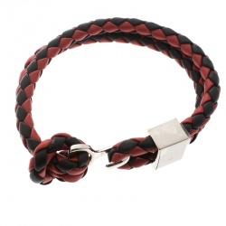 Burberry Two Tone Braided Leather Silver Tone Bracelet
