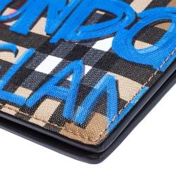 Burberry Multicolor Graffiti Print Check Leather Bifold Wallet