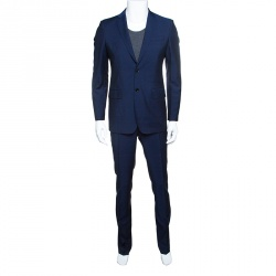 Burberry London Navy Blue Wool and Mohair Tailored Suit S ddbfece6d3