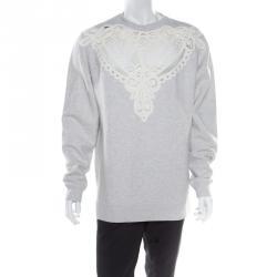 ac7656dbad8f8 Burberry Grey Melange Cutout Lace Insert Sweatshirt XL