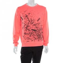 a16dbb557c32c Burberry Bright Neon Clement Scribbled Logo Print Rennie Sweatshirt L