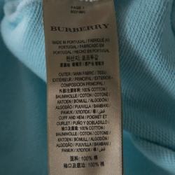 Burberry Light Blue Cotton Knit Equestrian Logo Hoodie L