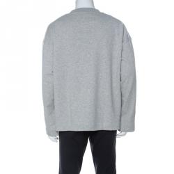 Burberry Grey Knit Embroidered Detail Crew Neck Sweatshirt XL