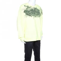 Burberry Neon Yellow Doodle Printed Cotton Sweatshirt XXXL