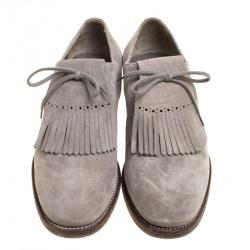 Burberry Grey Suede Ampney Fringe Detail Oxfords Size 43