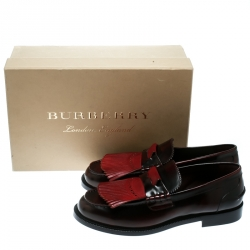 Burberry Burgundy Leather Bedmoore Fringe Detail Penny Loafers Size 44