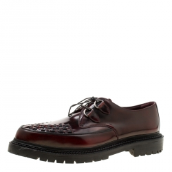 Burberry Burgundy Leather Lace Up Platform Creepers Size 45