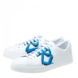 Burberry White Leather Albert Sneakers Size 43.5