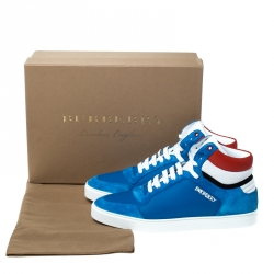 Burberry Blue Suede Leather Reeth High Top Sneakers Size 45