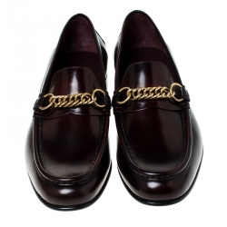 Burberry Burgundy Leather Solway Chain Detail Slip On Loafers Size 44.5
