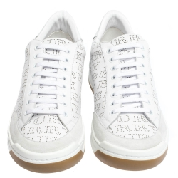 Burberry White Perforated Leather Timsbury Sneakers Size 45