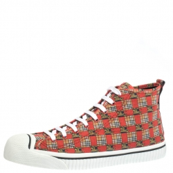 Burberry Red Canvas Kingly Print High Top Sneakers Size 44.5
