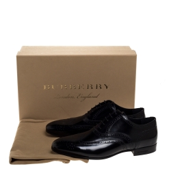 Burberry Black Glossy Leather Rayford Wingtip Derby Size 40