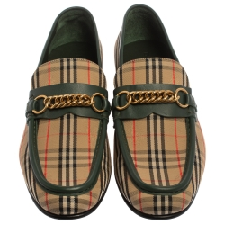 Burberry Beige /Green HayMarket Canvas And Leather Moorley Chain  Loafers Size 45
