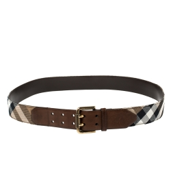 Burberry Beige/Brown House Check Canvas and Leather Buckle Belt 110 CM