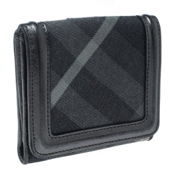 Burberry Grey Beat Check Canvas and Leather Compact Wallet
