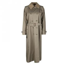 Burberry Vintage Beige Wool Collar Detail Double Breasted Extra Long Belted Trench Coat S
