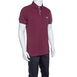 5ff82372ca4 Burberry Brit Burgundy Honeycomb Knit Novacheck Placket Detail Polo T-Shirt  L