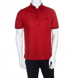 4be8e5bb Burberry London Red Honeycomb Knit Polo T-Shirt L