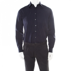 0ae38686f2cda Burberry London Navy Blue Pinstriped Cotton Long Sleeve Button Front Shirt S