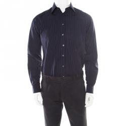 558e1144a Burberry London Navy Blue Pinstriped Cotton Long Sleeve Button Front Shirt S